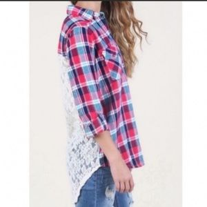 ALTAR'D STATE Plaid Lace Back Bethany Top M